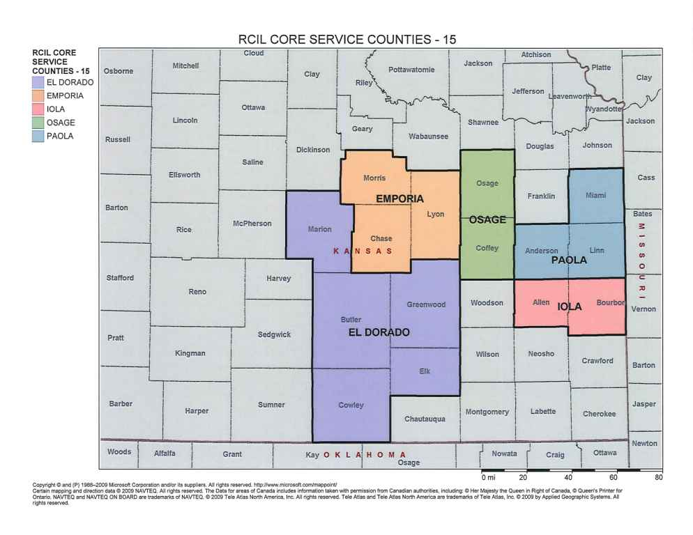 Map of Kansas showing the 15 counties that RCIL serves. The El Dorado office serves Marion, Butler, Greenwood, Elk, and Cowley Counties. The Emporia office serves Morris, Chase, and Lyon counties. The Osage City office serves Osage and Coffey counties. The Paola Office serves Anderson, Linn, and Miami counties. The Iola Office serves Allen and Bourbon counties.